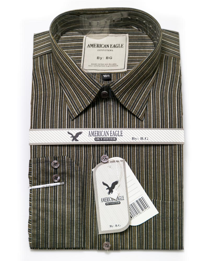 American Eagle Mens Formal Shirt - SA1005 - Mens Self Striped Cotton Shirts