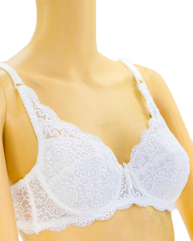 Embroidered Lace Bra - White - Bridal Bra - Non Padded Underwired Bra - Taiwan Bra - 8863