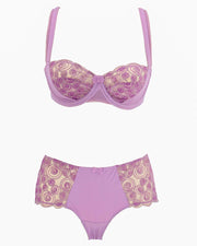 Sexy Bridal Net Lingerie Bra Panty Set - Rose Bra Panty Set - Purple