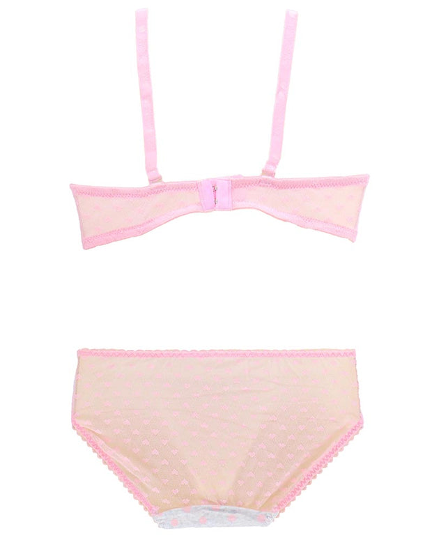 Girls Bra Panty Set Pink & White - Single Padded Underwired Bra - Wink Pink Lingerie