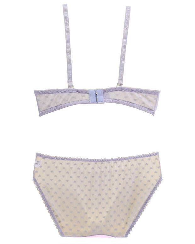 Girls Bra Panty Set Pink & Grey - Single Padded Underwired Bra - Wink Pink Lingerie