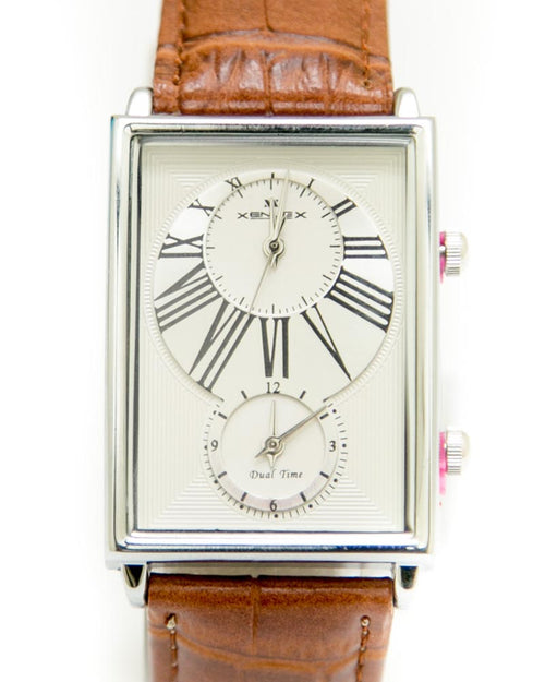 Xenlex Mens Watches with Brown Belt & Silver & White Square Dial Watches