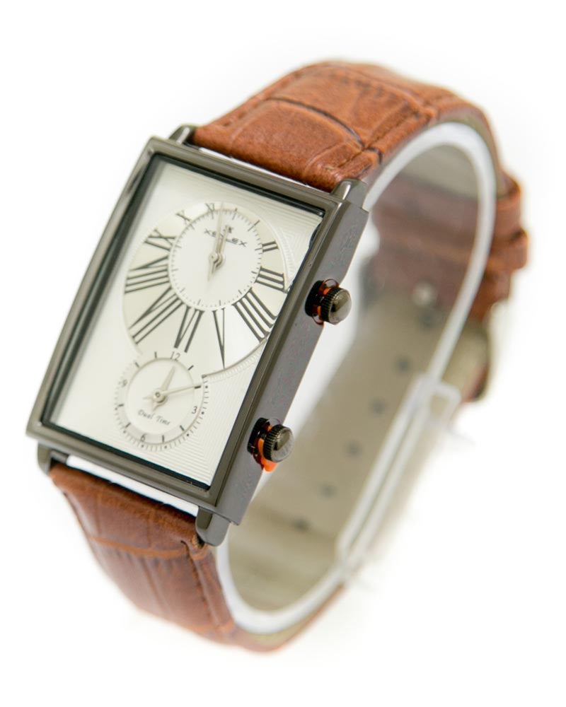 Xenlex Mens Watches with Brown Belt & Black & White Square Dial Watches