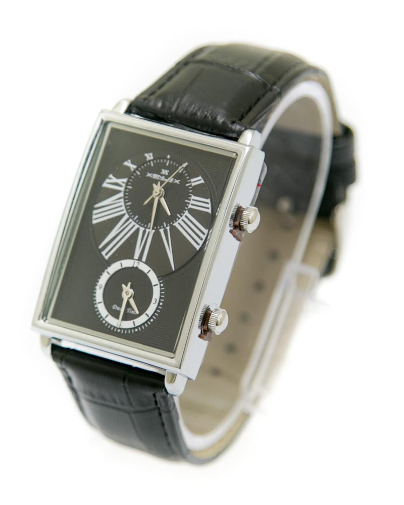 Xenlex Mens Watches with Black Belt & Silver & Black Square Dial Watches