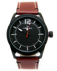 Mens Sport Watches with Maroon Belt & Black Round Dial Watches by Xenlex