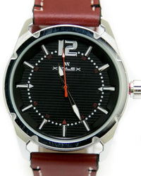 Mens Sport Watches with Maroon Belt & Silver Round Dial Watches by Xenlex