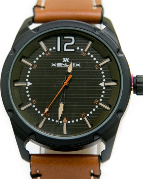 Mens Sport Watches with Brown Belt & Black Dial Watches by Xenlex
