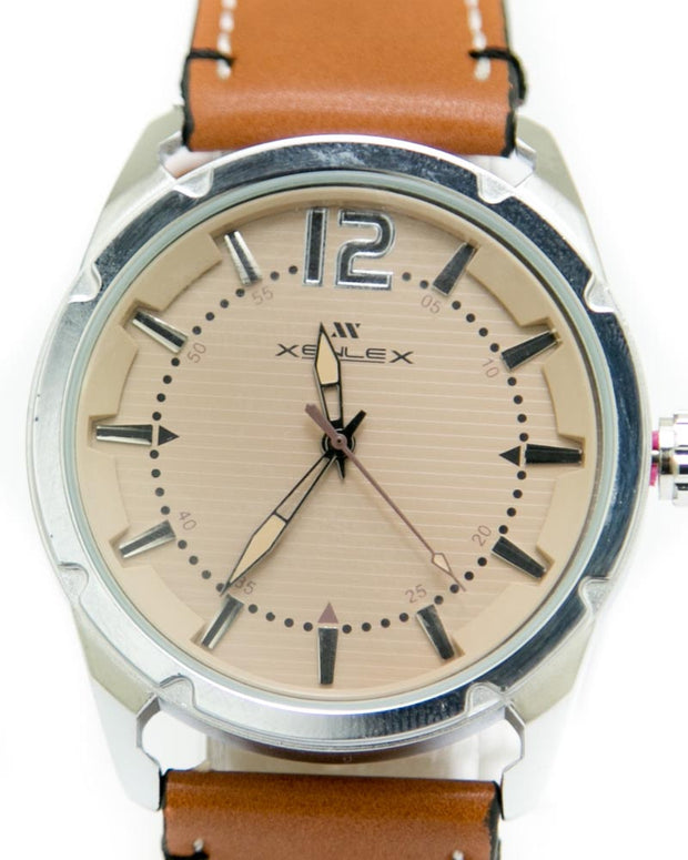 Mens Sports Watches with Brown Belt & Silver & Brown Dial Watches by Xenlex