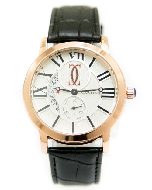 Cartier Mens Watches with Black Belt & Round Dial Watches