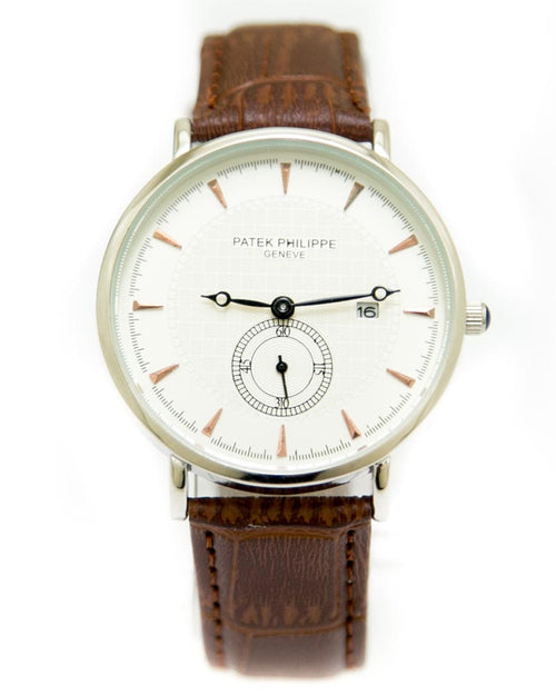 Patek Philippe Mens Watches with Brown Belt & White Round Dial Watches