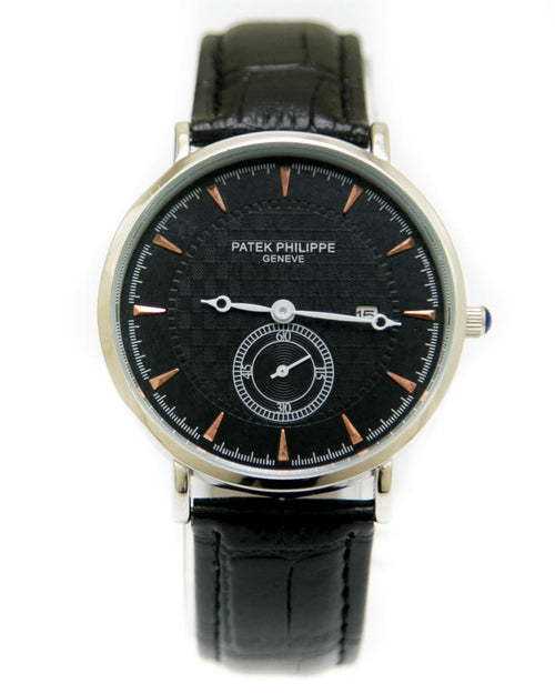 Patek Philippe Mens Watches with Black Belt & Black Round Dial Watches