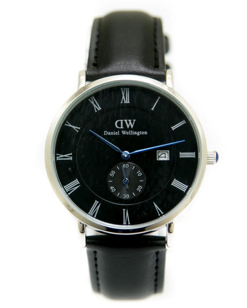 DW Black & Silver Mens Watch with Date & Black Belt - Daniel Wellington