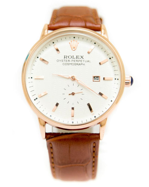 Rolex Mens Watches with Brown Belt & Golden Round Dial Watches