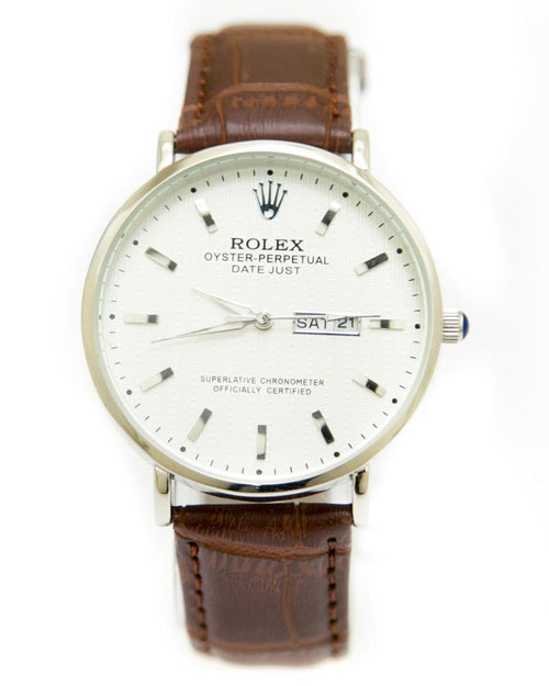 Rolex Mens Watches with Brown Belt & Silver Round Dial Watches
