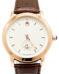 Movado Mens Watches with Brown Belt & Round Dial
