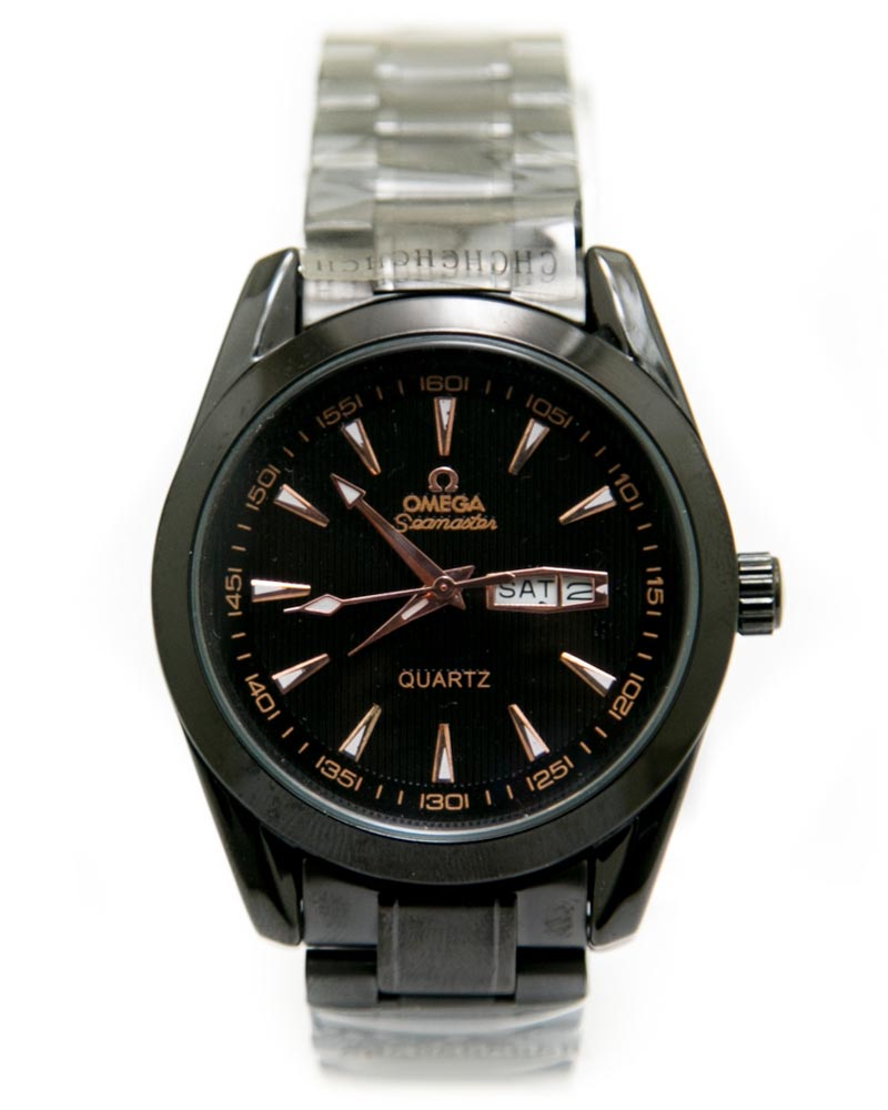 Omega Mens Watches with Black Chain & Black Dial