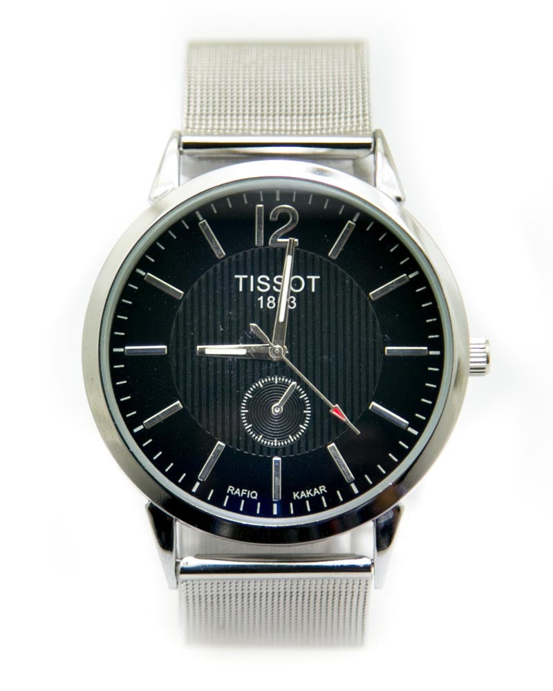 Tissot Mens Watches with Silver Chain & Black Round Dial Watches