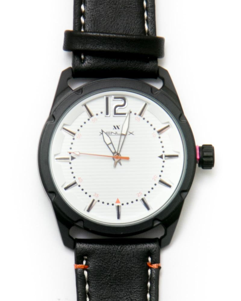 Mens Sport Watches with Black Belt & White Round Dial Watches by Xenlex