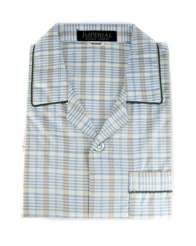 Mens Wedding Nightwear - Checkered Design Nightdress By Hy-Brow Plus High Classic