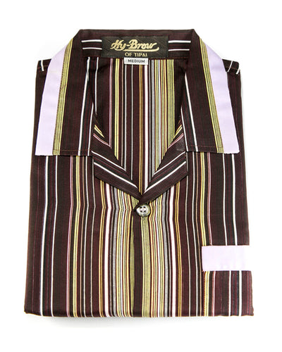 Hy-Brow Plus High Classic Nightdress For Men - Striped Design Nightwear