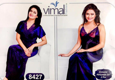 2 Pcs Princess Nighty Set with Gown - V8427 - Satin Silk Nighty by Vimal Fashion - Nighty Sets - diKHAWA Online Shopping in Pakistan