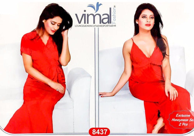 2 Pcs Princess Nighty Set with Gown - V8437 - Satin Silk Nighty by Vimal Fashion - Nighty Sets - diKHAWA Online Shopping in Pakistan
