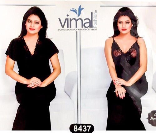 2 Pcs Black Nighty Set with Gown - V8437 - Satin Silk Nighty by Vimal Fashion - Nighty Sets - diKHAWA Online Shopping in Pakistan