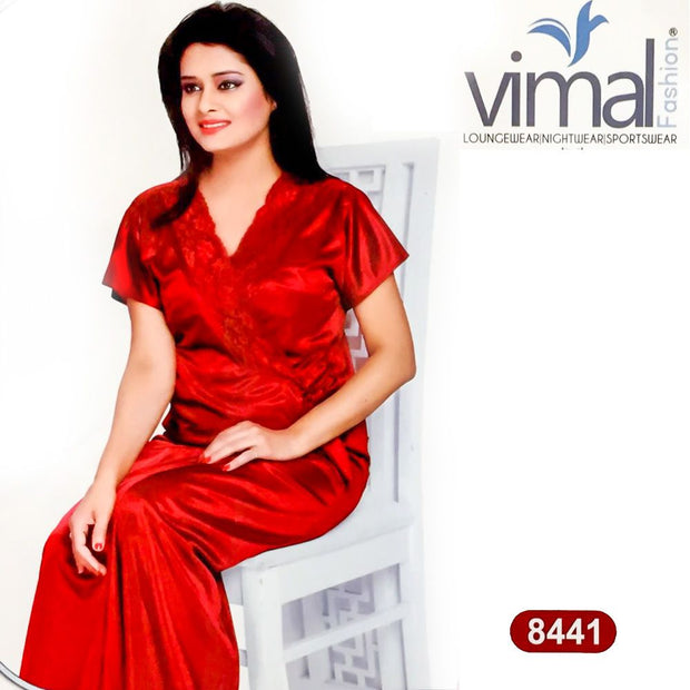 2 Pcs Silk Nighty Set with Gown - V8441 - Satin Silk Nighty by Vimal Fashion - Nighty Sets - diKHAWA Online Shopping in Pakistan