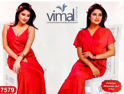 2 Pcs Red Nighty Set with Gown - V7579 - Satin Silk Nighty by Vimal Fashion - Nighty Sets - diKHAWA Online Shopping in Pakistan
