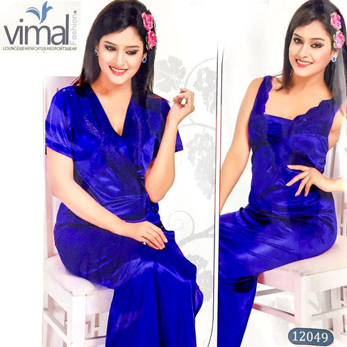 2 Pcs Blue Long Nighty Set with Gown - V12049 - Satin Silk Nighty by Vimal Fashion