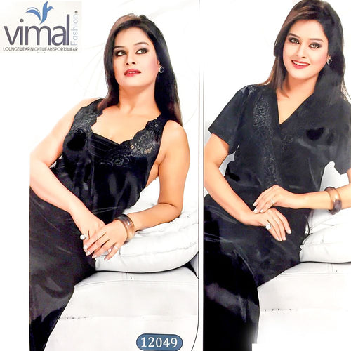 2 Pcs Black Long Nighty Set with Gown - V12049 - Satin Silk Nighty by Vimal Fashion - Nighty Sets - diKHAWA Online Shopping in Pakistan