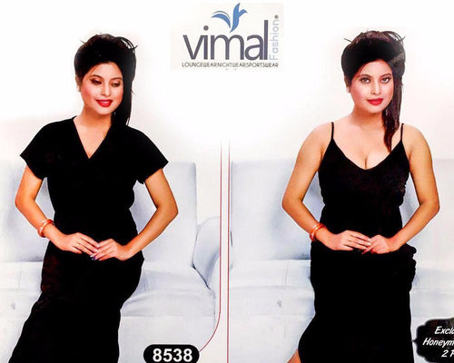 2 Pcs Black Queen Nighty Set with Gown - V8538 - Satin Silk Nighty by Vimal Fashion - Nighty Sets - diKHAWA Online Shopping in Pakistan