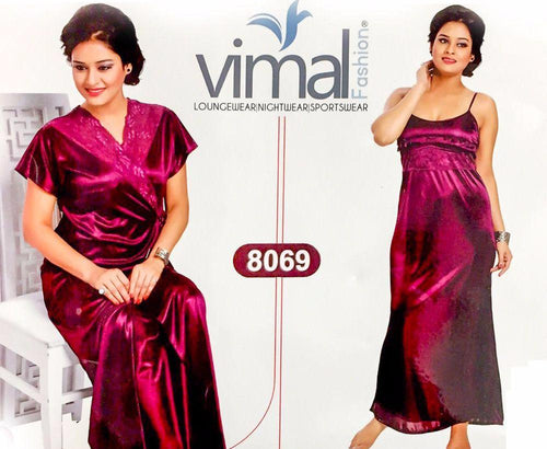 2 Pcs Maroon Nighty Set with Gown - V8069 - Satin Silk Nighty by Vimal Fashion