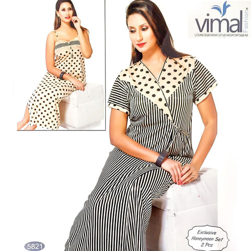 Designer 2 Pcs Nighty Set - Zebra Stripes & Polka Dotted Nighty Set - V5821 - Satin Silk Nighty by Vimal Fashion - Nighty Sets - diKHAWA Online Shopping in Pakistan
