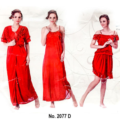 Designer 3 Pcs Nighty Set - SW-2077D - Satin Silk Nighty by Skin Wrap - Nighty Sets - diKHAWA Online Shopping in Pakistan