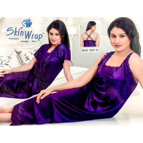 Premium 2 Pcs Purple Nighty Set - SW-1001D - Satin Silk Nighty by Skin Wrap - Nighty Sets - diKHAWA Online Shopping in Pakistan