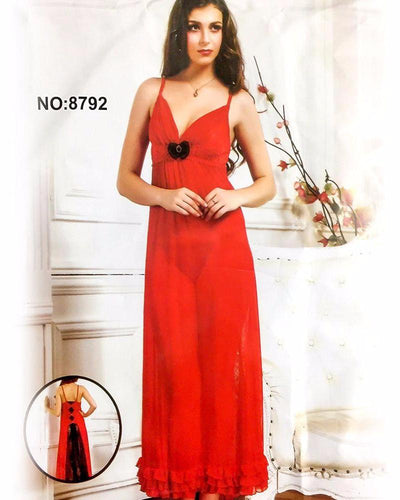 Summer Sexy Net Nighty 8792 - Long Net Nighty Dress - Nighty - diKHAWA Online Shopping in Pakistan