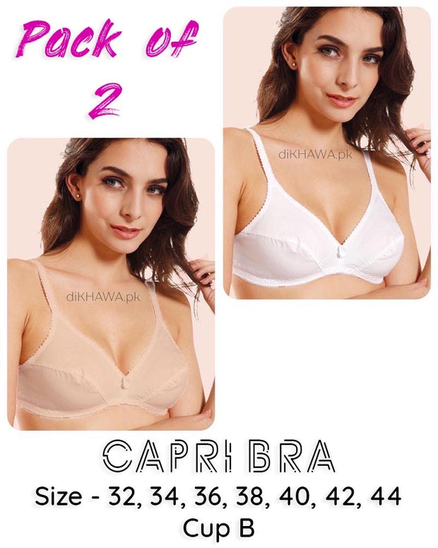 Pack of 2 - Capri Bra - Flourish - Non Padded & Non Wired Basic Cotton Bra