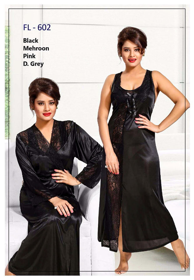 2 Pcs FL-602 - Black Flourish Exclusive Bridal Nighty Set Collection