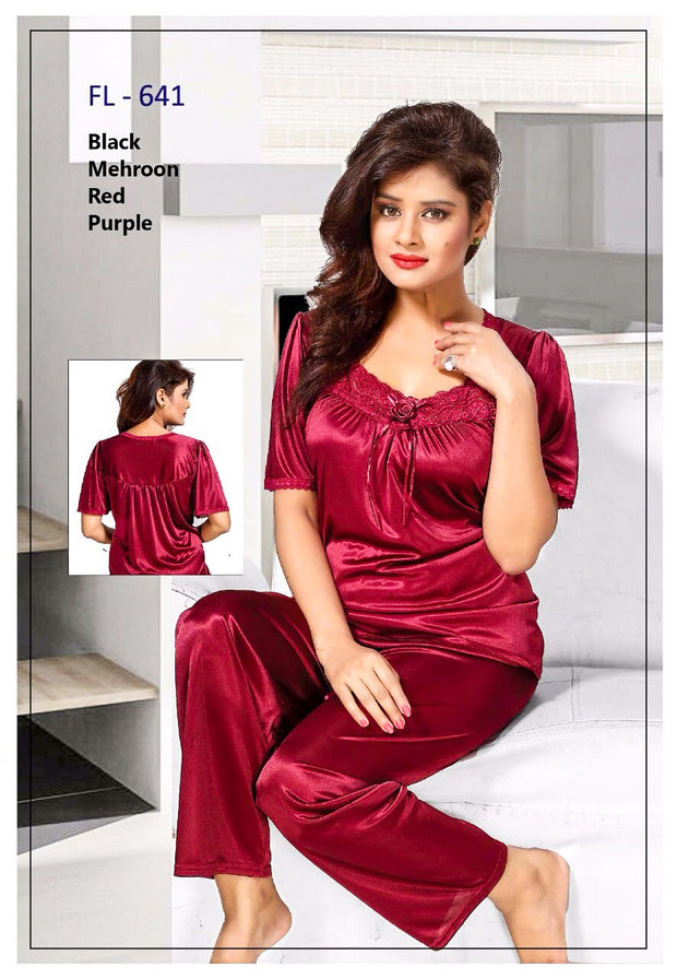2 Pcs FL-641 - Maroon Flourish Exclusive Bridal Nighty Set Collection