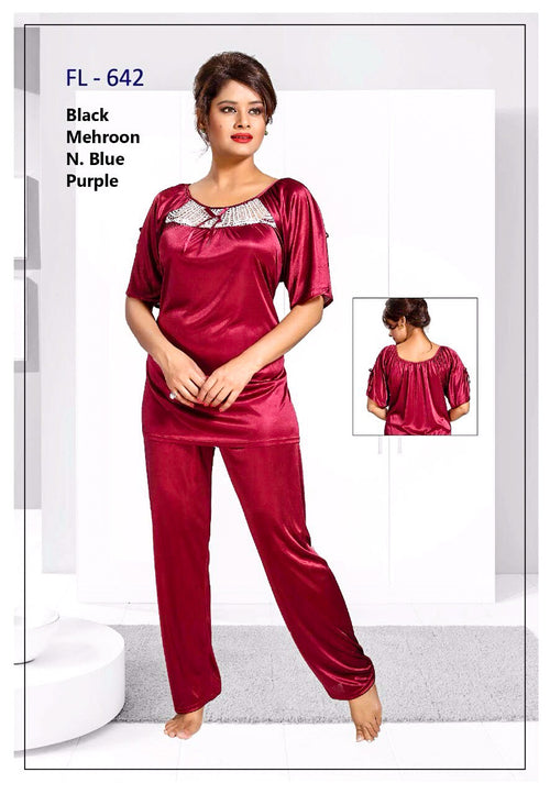2 Pcs FL-642 - Magenta Flourish Exclusive Bridal Nighty Set Collection