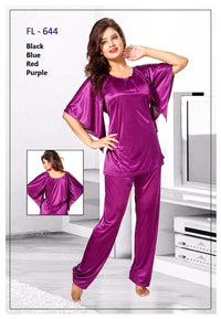 2 Pcs FL-644 - Magenta Flourish Exclusive Bridal Nighty Set Collection