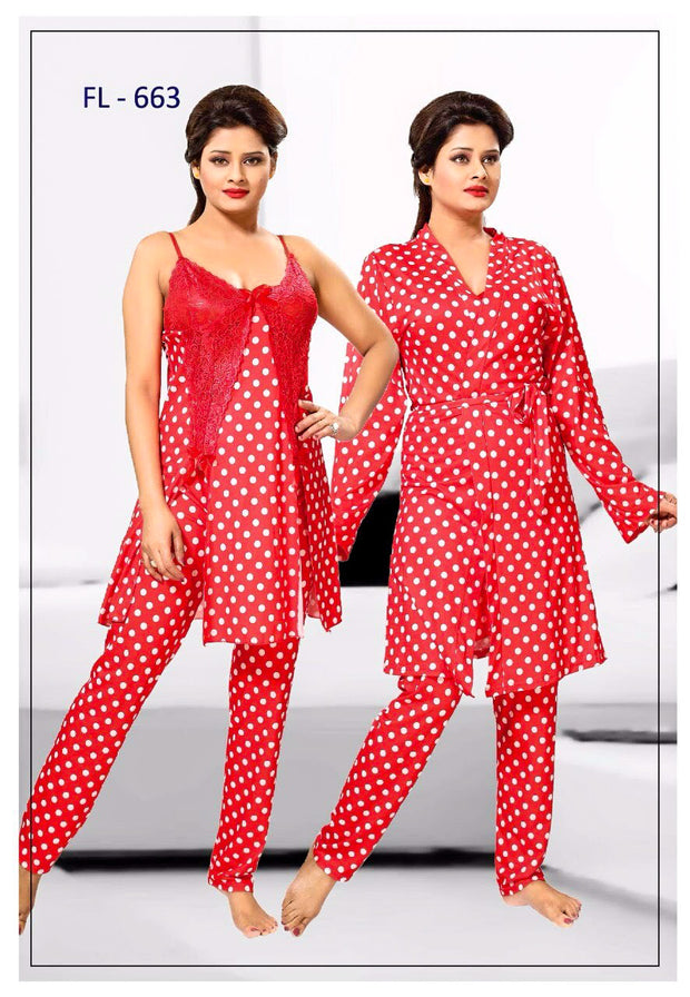 3 Pcs FL-663 - Red Flourish Exclusive Bridal Nighty Set Collection