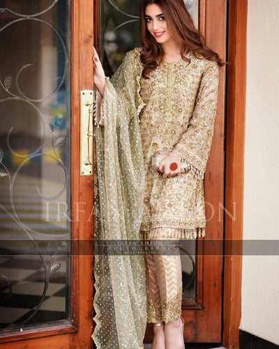 IRFAN HASSAN CHIFFON WITH NET EMBROIDERED DUPATTA (Replica)(Unstitched)