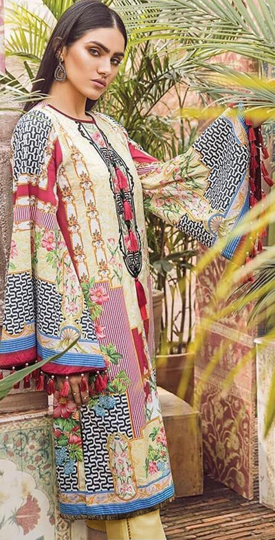 Ethnic Printed Lawn With Chiffon Dupatta - Yellow - 2019-2020 Lawn Collection