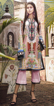 Ethnic Printed Lawn With Chiffon Dupatta - 2019-2020 Lawn Collection