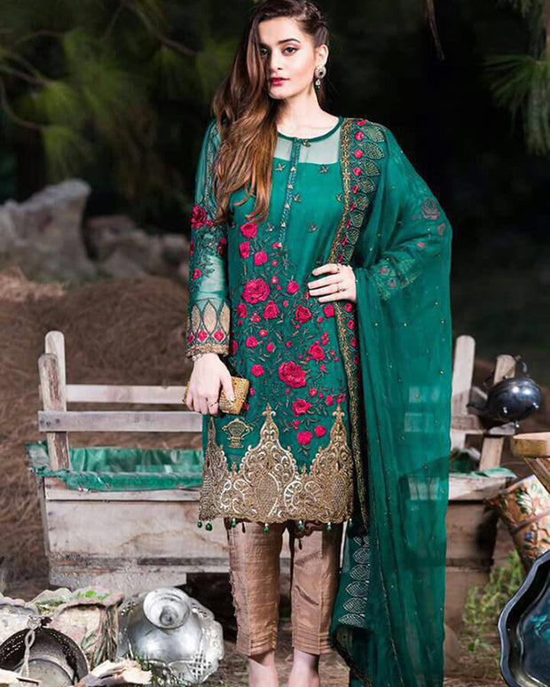 Imrozia Chiffon Collection With Silk Trouser (Replica)(Unstitched)