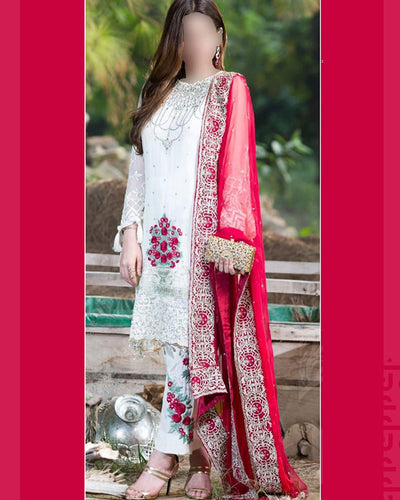 FULL HEAVY EMBROIDERY CHIFFON SUTE WITH CHIFFON EMBROIDERY DUPATTA (Replica)(Unstitched)