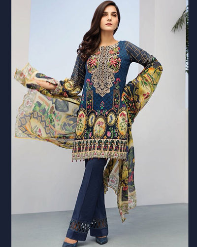 LINEN COLLECTION BY JAZMIN With Printed Chiffon Dupatta (Replica)(Unstitched)