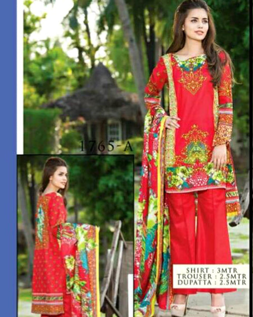 Jhalak Lawn Suits 3 Piece - 1765-A (Original) (Unstitched)